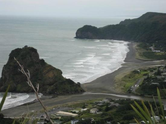 First view of Piha Beach and Lion's Rock on drive down!