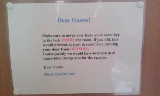 Hotel Adam: Warning on the door