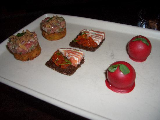 Michael Mina: Steak Tartare,Salmon with Caviar,Fois Gras cherry