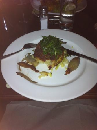 The Black Horse Inn Restaurant: potato cheese leek cake with wilted spinach