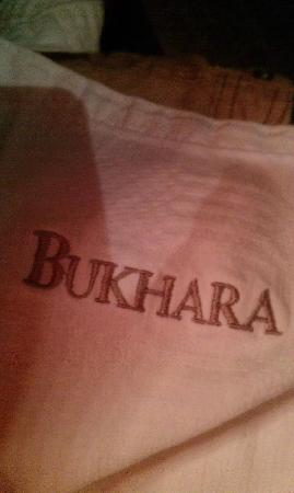 Bukhara: Only the napkin- no foodie shots yet sorry.