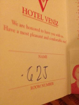 Hotel Veniz: This is our room number