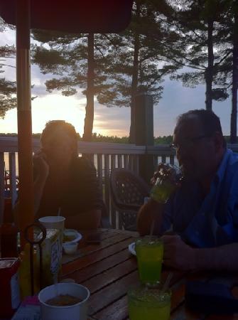Poland Spring Resort: sunset at Cyndi's dockside