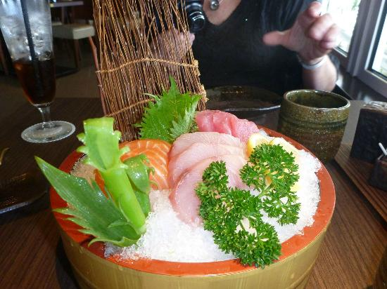 Kaizen Sushi: the cheapskate sashimi (yep that's us)  - excellent, what a waste of ice