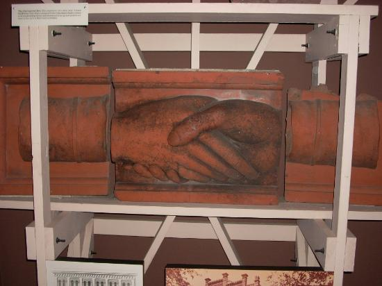 Massie Heritage Center : Giant Hands Salvaged from Demolished Odd-Fellows Hall