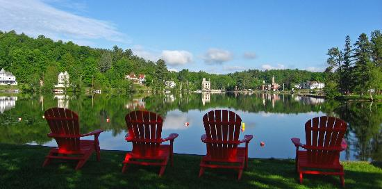 Adirondack Motel: View across the lake