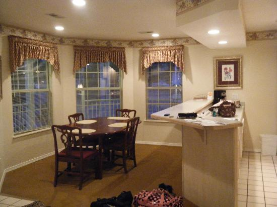 Suites at Fall Creek: from living room looking at dining area, kitchen is on right