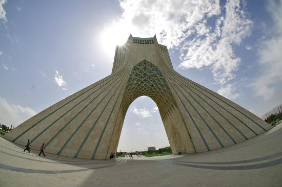 Azadi Tower: A fisheye shot of the monument