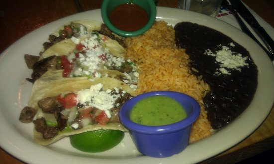 Patron Mexican Grill : Steak Tacos, Rice, and Beans