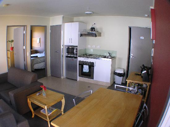 Nikau Apartments: two bedroom lounge