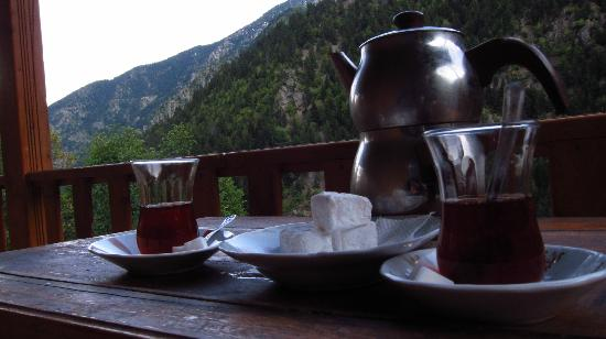 Karahan Hostel: view from our balconey with tea