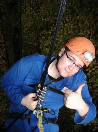 Waitomo Adventures - Lost World 4 Hr Option: Jeremy hanging around 100 m up!