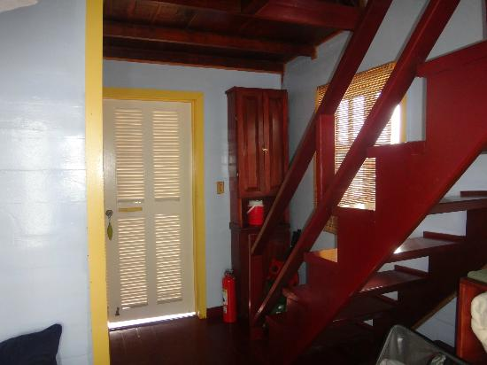Punta Caracol Acqua Lodge: The bedroom is up these stairs