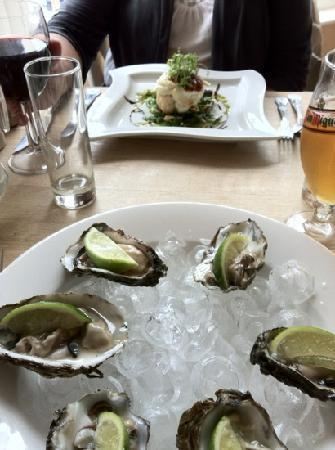 Cafe Fish: oysters for me, goats cheese for the wife