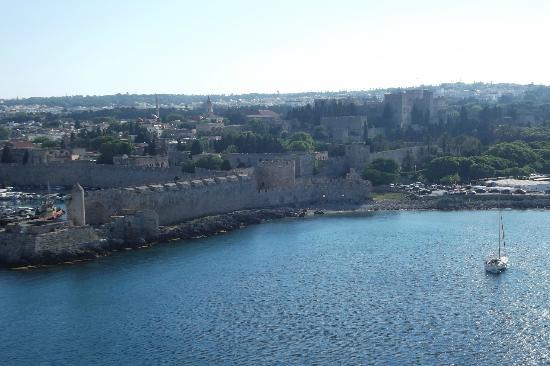 Rhodos, Griechenland: Rodi,panorama dalla nave