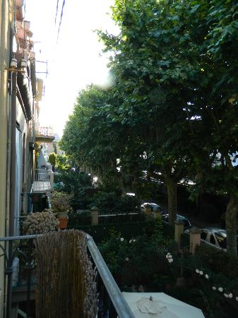 Hostal Romani: View down the street from our balcony