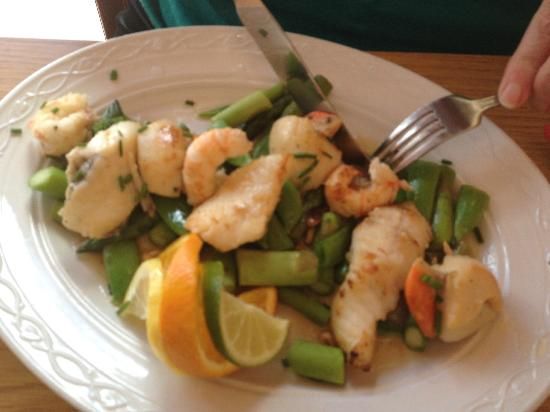 The Fishmarket Restaurant: Prawns, monkfish and scallops with asparagus, sugarsnap peas and pine kernels
