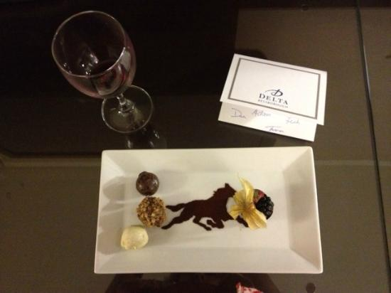 Delta Bessborough: consolation in the form of wine and chocolate from the hotel staff