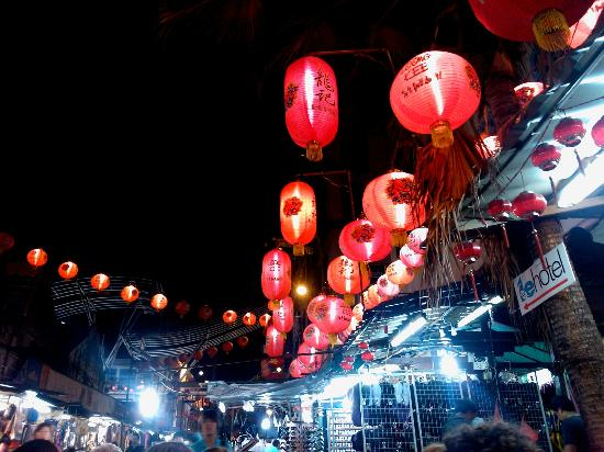 Hawker Stalls in Chinatown: china town at night