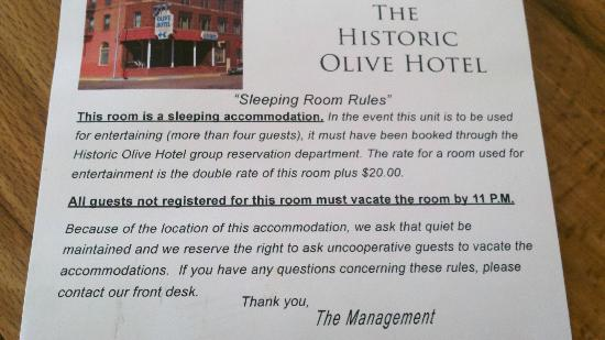 Olive Hotel: Comment Card