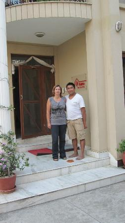 At Home Nepal Guest House: Ashok and Catherine outside the entrance