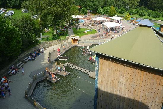 Haltern am See, Deutschland: Looking down at tower and water park From the Water flume/raft ride
