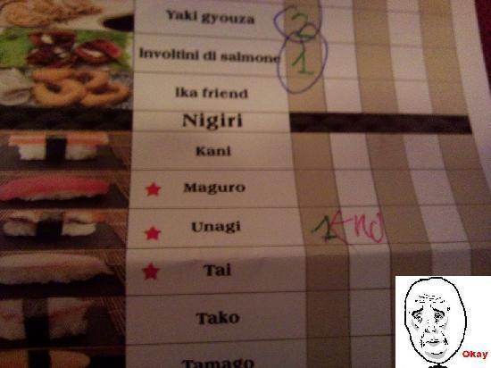 Ristorante Giapponese Ran: menu da compilare