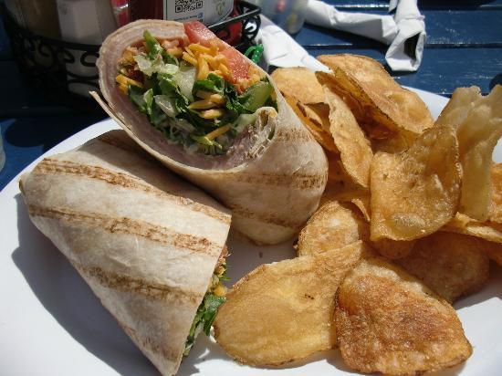 Shipwrecked Brew Pub: My wrap and homemade chips!!!  YUM!