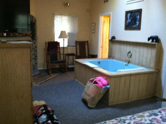 Pine Knot Guest Ranch: Cabin 15 tub/sitting area