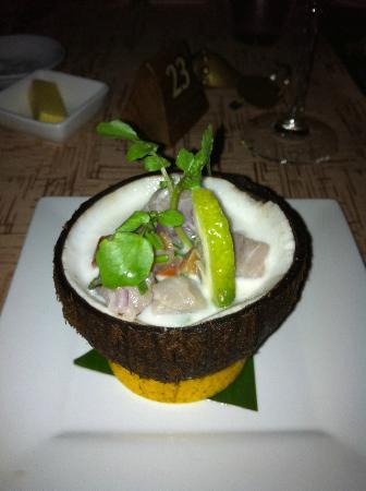 Jean-Michel Cousteau Resort: Entree of Wahu (fish) cooked in lime yummy