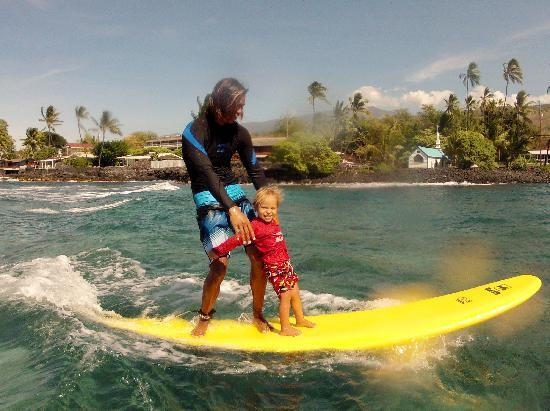 Surfing At Lymans Beach Kailua Kona Stock Photo | Getty Images
