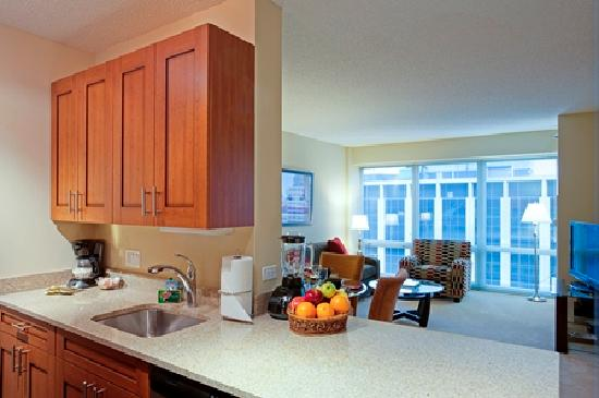 Manilow Suites at 215 West: Kitchen and living room