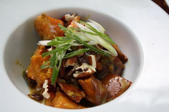 Beast Restaurant: Sweet potatoes, pecans, curry sauce, sultana raisins