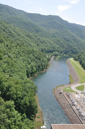 Fontana Marina: View from on top of the dam looking down to campground on the left.