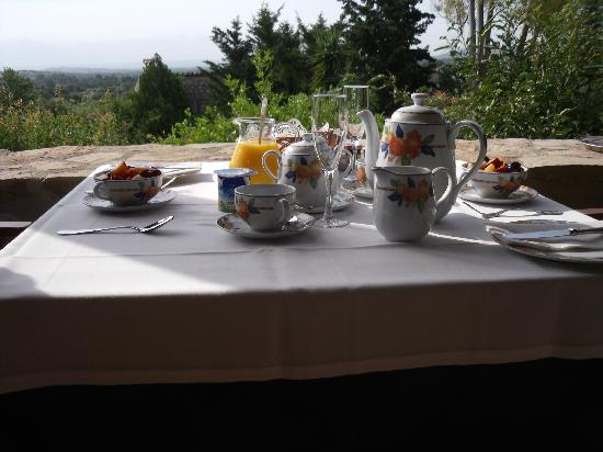 Can Furiós Petit Hotel: breakfast- as delivered to our terrace