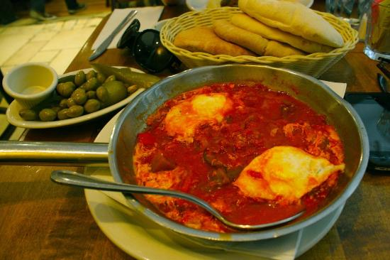 Hummus Place : Shakshuka (stew of tomatoes, peppers, onion & eggplant topped with 2 over easy eggs)
