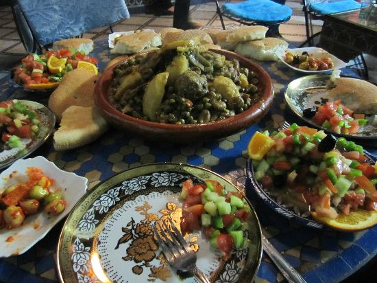 Dar el Yasmine: A picture of the home-cooked food of the riad. So yummy!