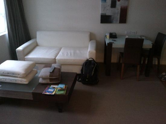 Quest on Lambton Serviced Apartments: Sofa and table