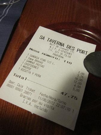 Sa Taverna d' es Port: The bill!