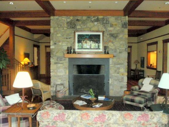 Sourwood Inn: Living room fireplace