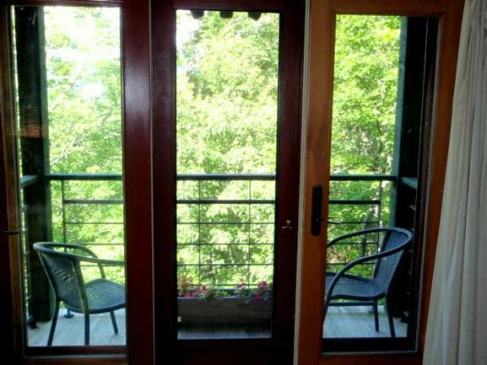 Sourwood Inn: View onto the deck and woods beyond