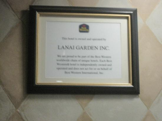 "BEST WESTERN Lanai Garden Inn & Suites: Their certification of being a best western. Certainly not the "" best"""