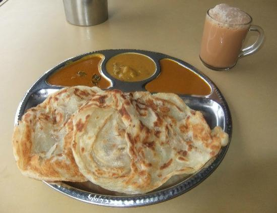 MD Curry House: Roti (kosong) with Teh Tarik