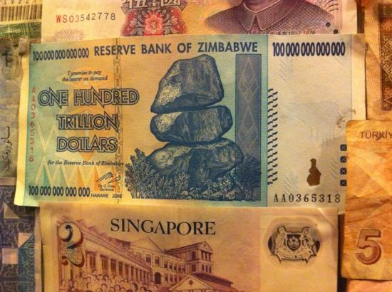 Zingarella: the cash register has some interesting currencies.