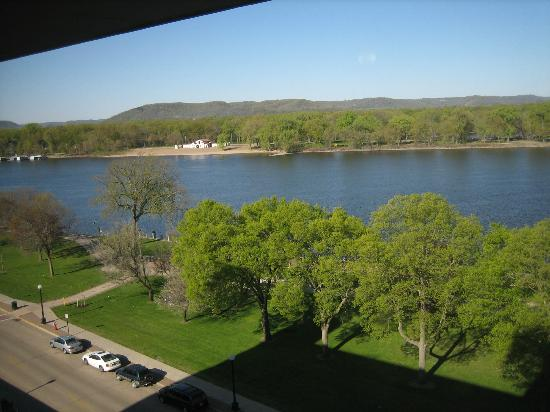 Radisson Hotel La Crosse: view down river from top floor of Radisson