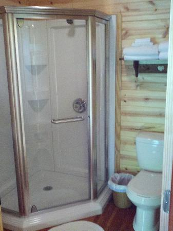 Lost Trail Cabins: Corner Shower in Bathroom