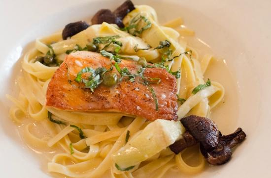Amedeo's Italian Restaurant: Salmon over Fettuccine with Capers, Artichokes, and Peas