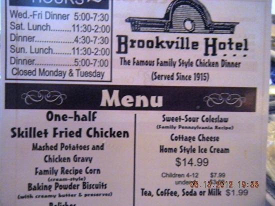 Brookville Hotel: Hotel Menu