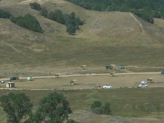 Sage Creek Campground: View of campground from hill