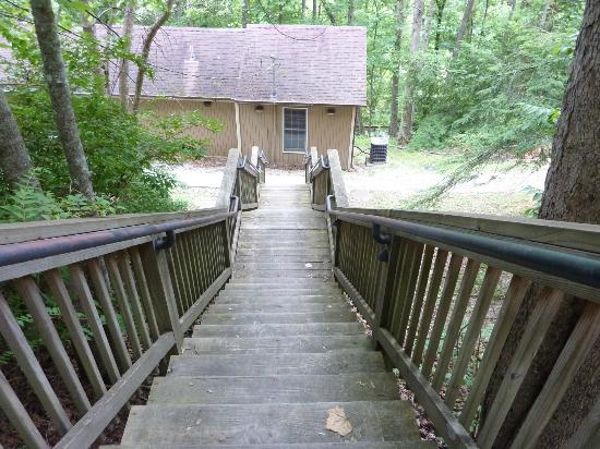 Natural Bridge State Resort Park: steps leading down to cottage